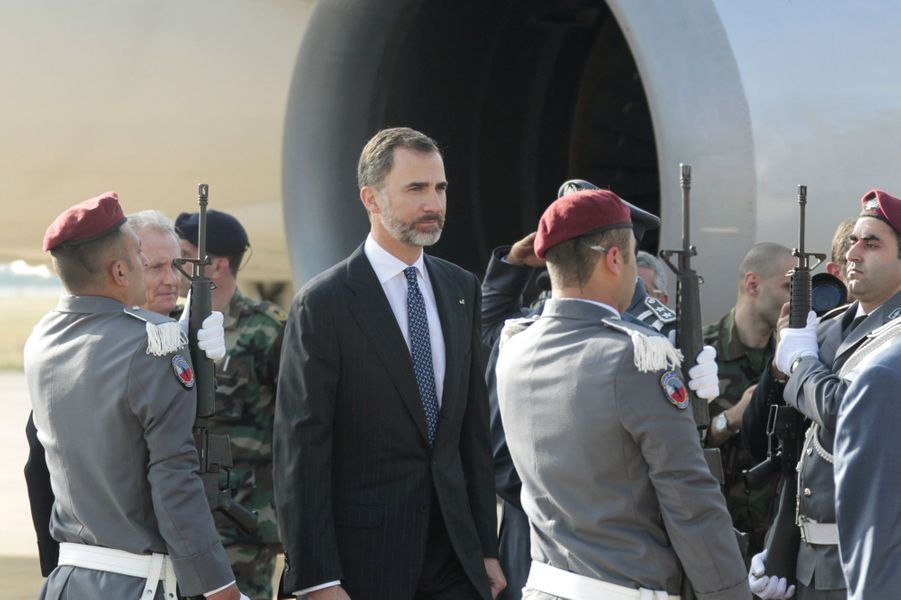 Le roi Felipe VI d'Espagne à Beyrouth, le 7 avril 2015