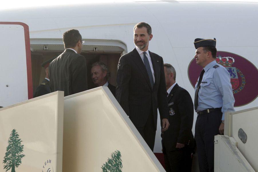 Le roi Felipe VI d'Espagne arrive à Beyrouth, le 7 avril 2015