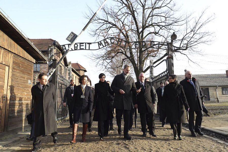 La reine Letizia et le roi Felipe VI d'Espagne visitent le camp d'Auschwitz-Birkenau, le 27 janvier 2020