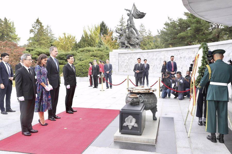 La reine Letizia et le roi Felipe VI d'Espagne, le 23 octobre 2019 à Séoul