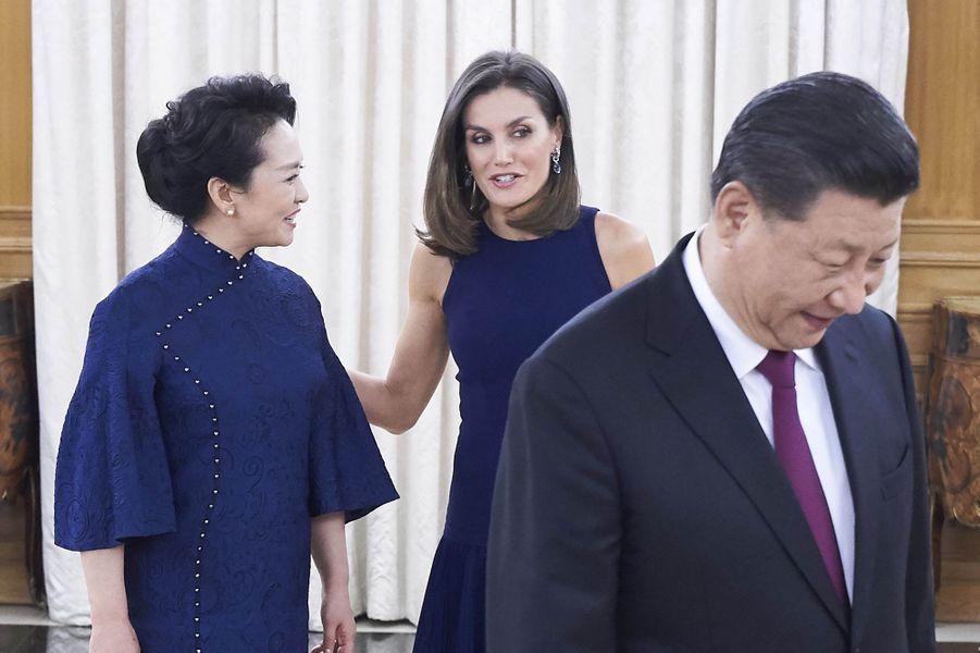 La reine Letizia d'Espagne avec le président chinois Xi Jinping et son épouse Peng Liyuan à Madrid, le 27 novembre 2018