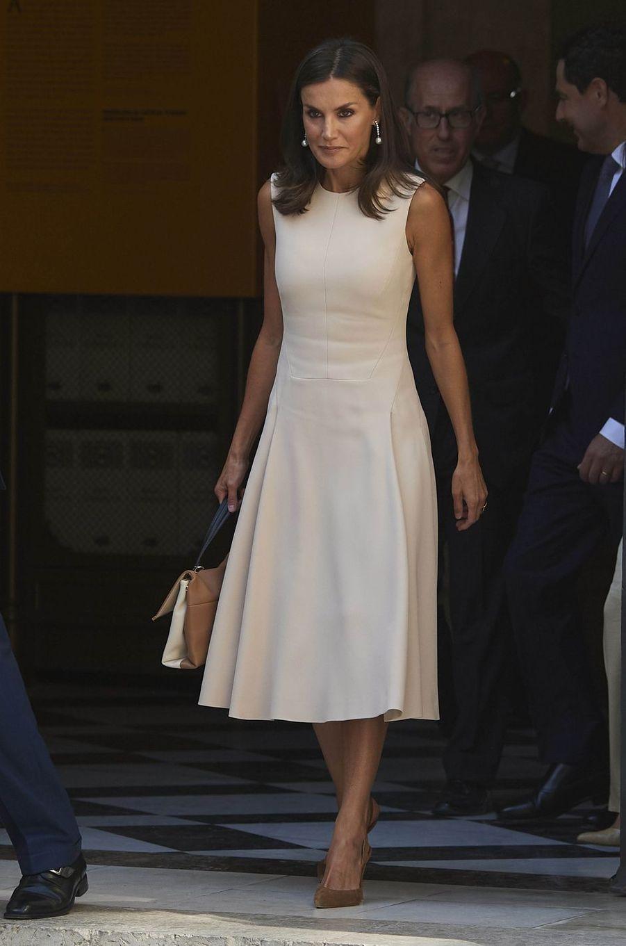 La reine Letizia d'Espagne, le 12 septembre 2019 à Séville