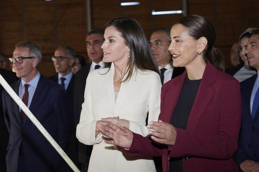 La reine Letizia d'Espagne avec la princesse Lalla Meryem du Maroc à Salé, le 14 février 2019