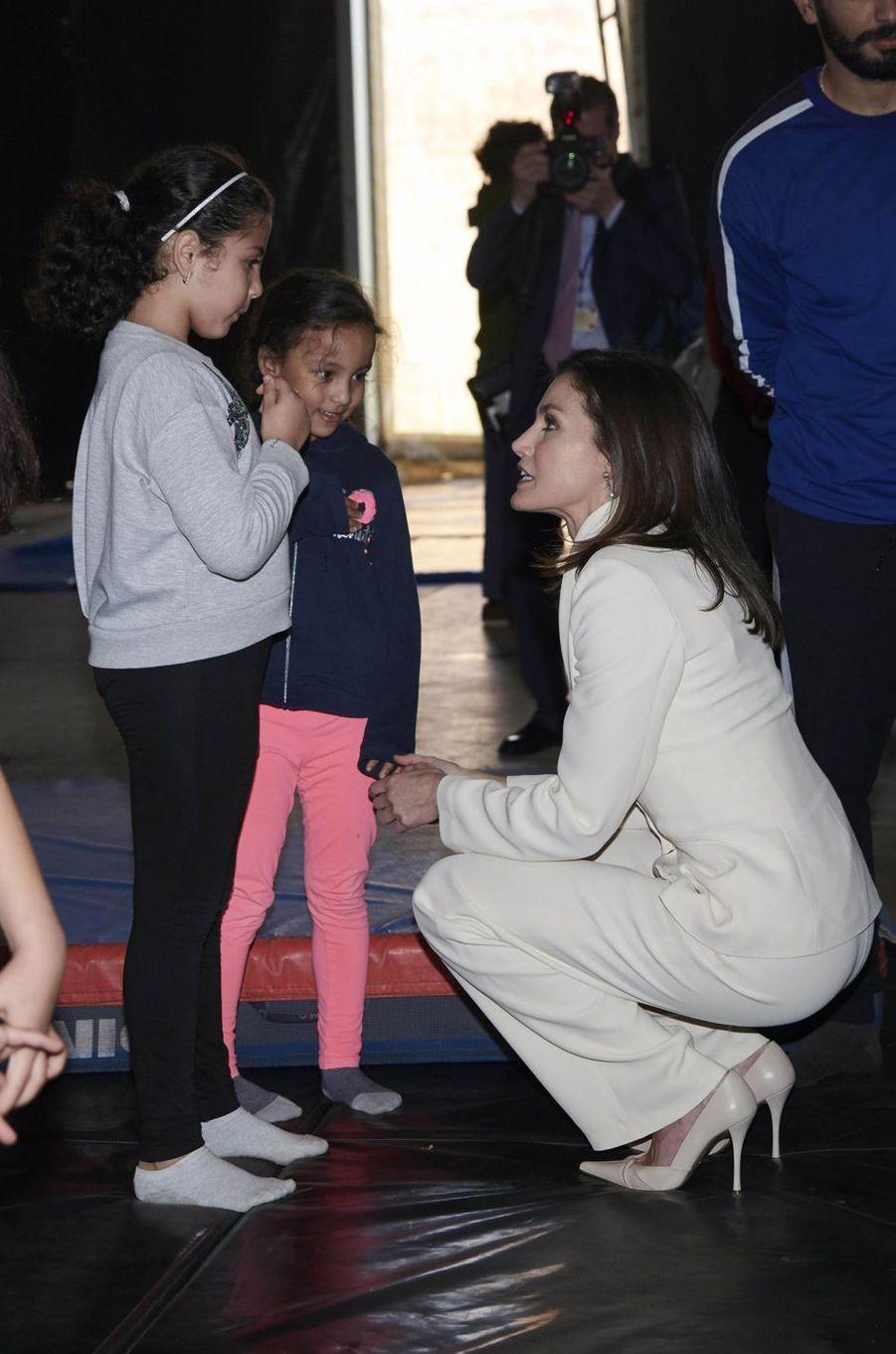 La reine Letizia d'Espagne à Salé, le 14 février 2019