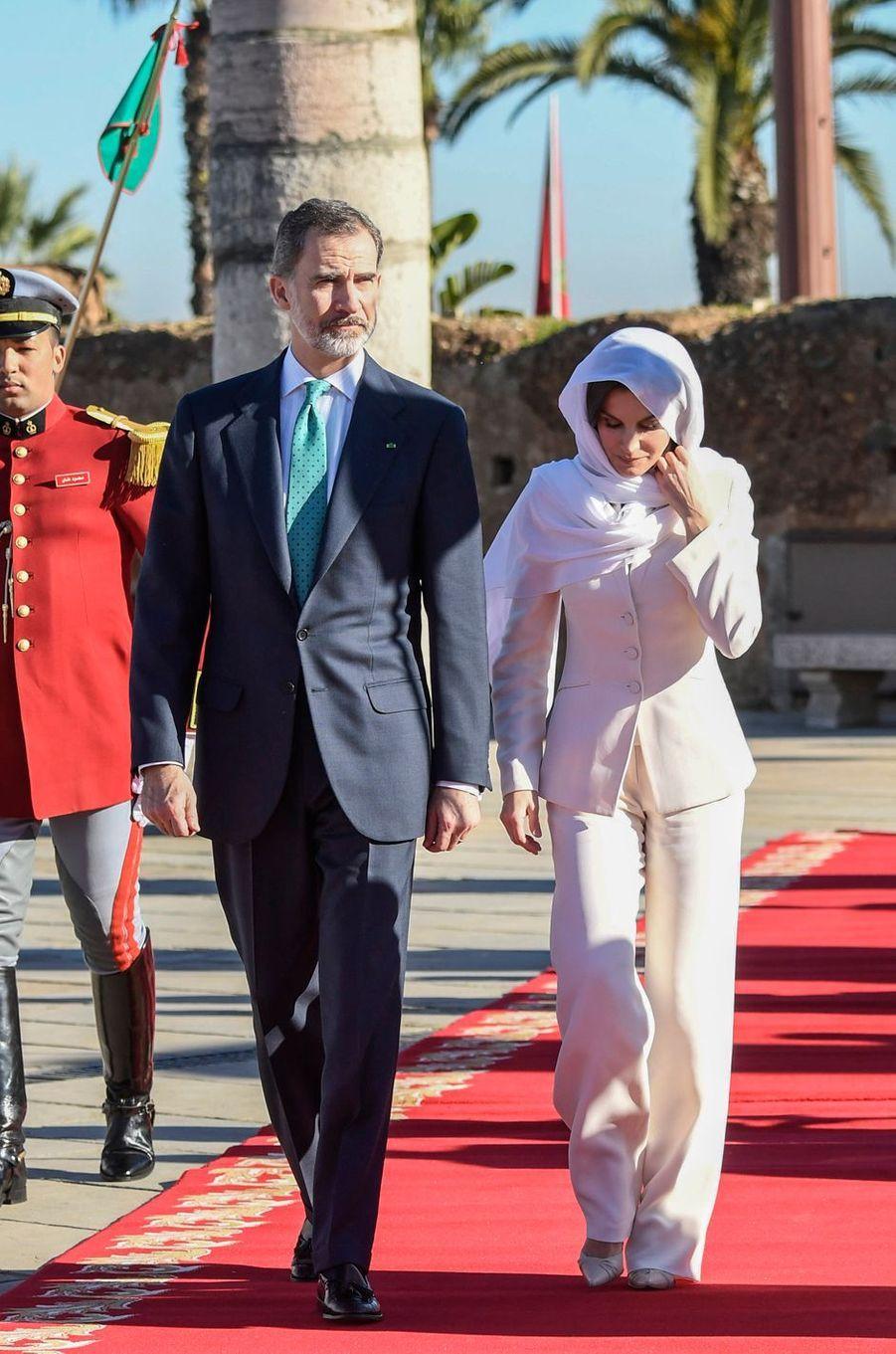 La reine Letizia et le roi Felipe VI d'Espagne à Rabat au Maroc, le 14 février 2019