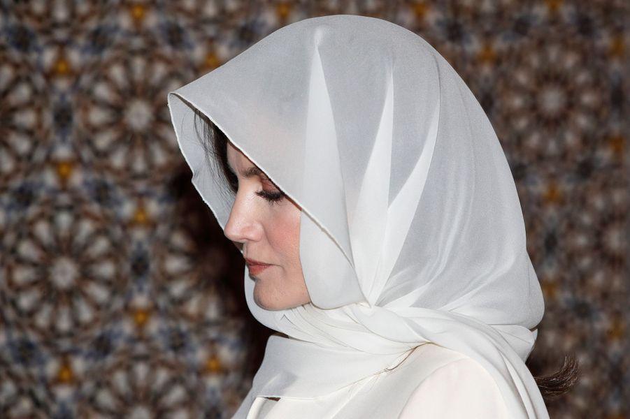 La reine Letizia d'Espagne dans le mausolée Mohammed V à Rabat, le 14 février 2019