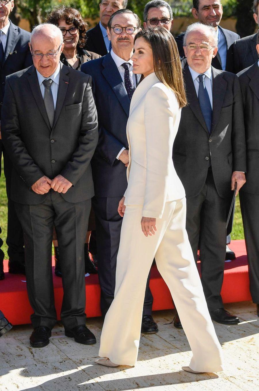 La reine Letizia d'Espagne à Rabat, le 14 février 2019