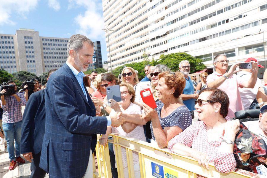Le roi Felipe VI d'Espagne sur l'île de Grande Canarie, le 23 septembre 2019