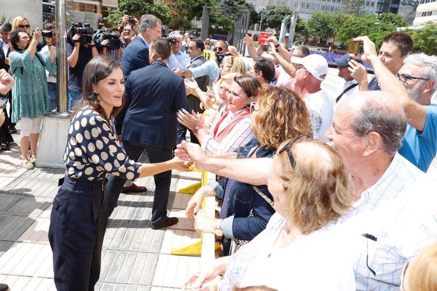 La reine Letizia d'Espagne sur l'île de Grande Canarie, le 23 septembre 2019