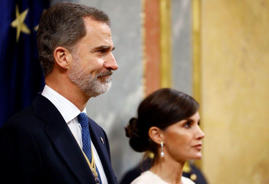 La reine Letizia et le roi Felipe VI d'Espagne à Madrid, le 3 février 2020