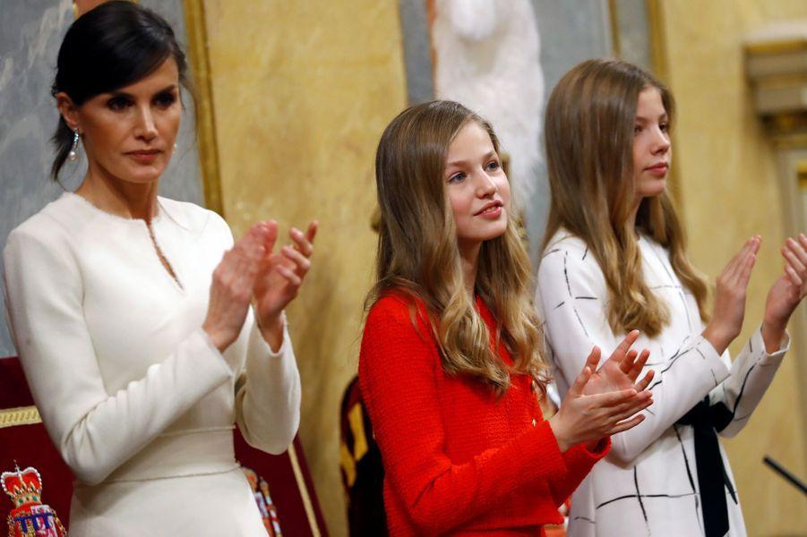 La reine Letizia et les princesses Leonor et Sofia d'Espagne à Madrid, le 3 février 2020