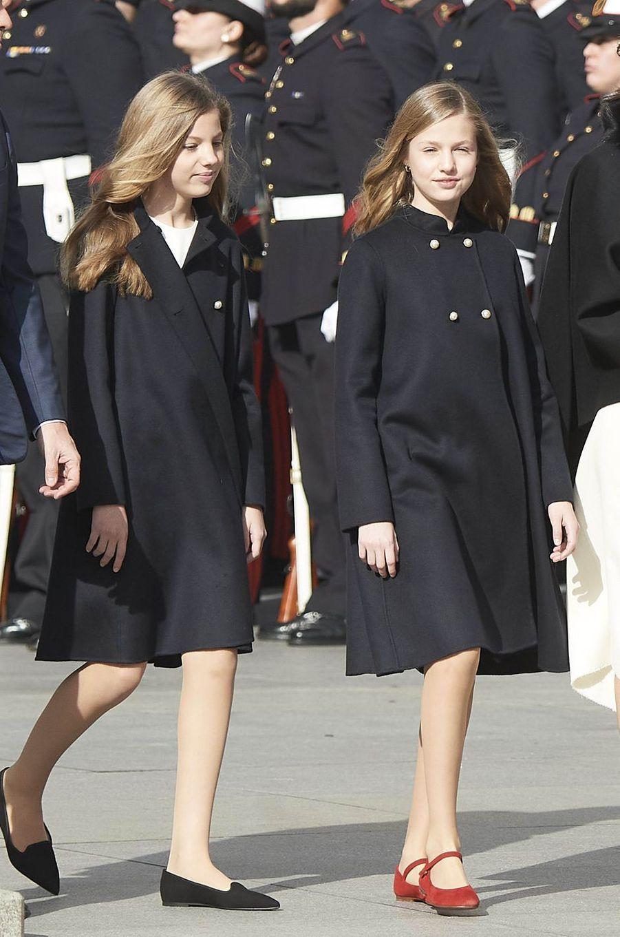 Les princesses Sofia et Leonor d'Espagne à Madrid, le 3 février 2020