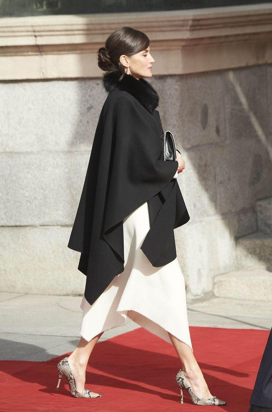 La reine Letizia d'Espagne à Madrid, le 3 février 2020