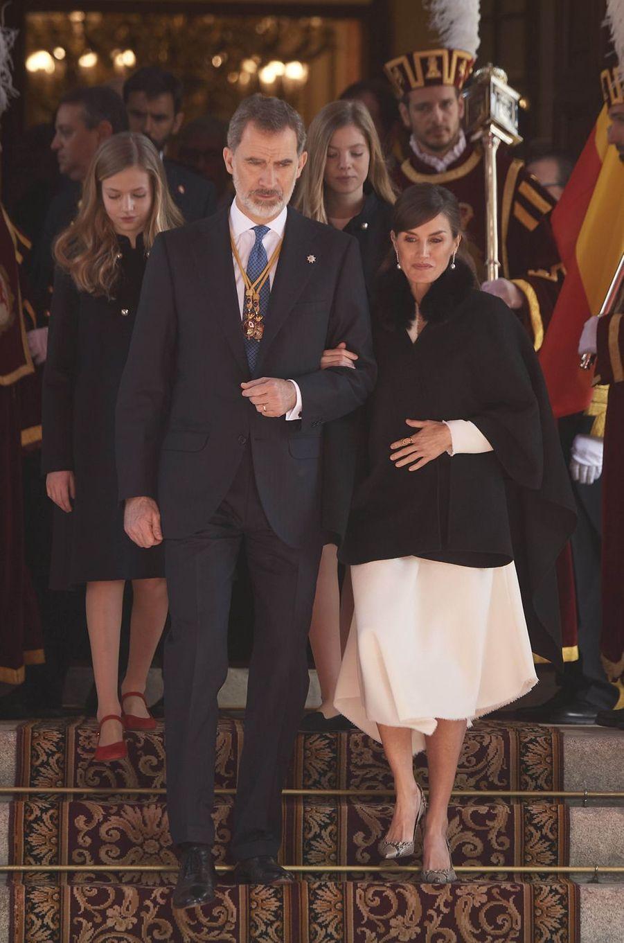 La reine Letizia et le roi Felipe VI d'Espagne avec les princesses Leonor et Sofia à Madrid, le 3 février 2020