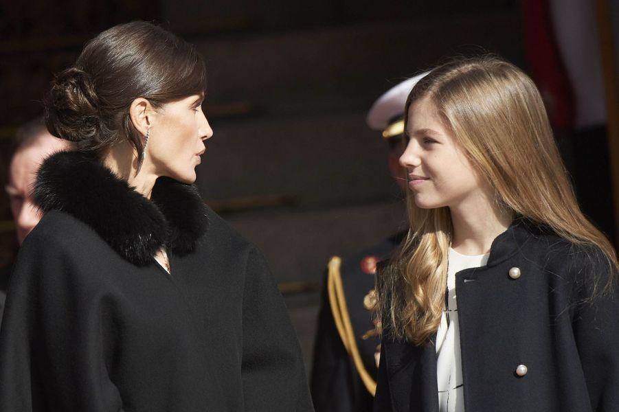 La reine Letizia d'Espagne et la princesse Leonor à Madrid, le 3 février 2020