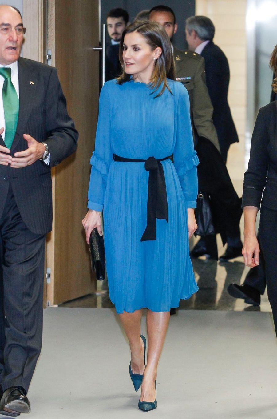 La reine Letizia d'Espagne dans une robe-combinaison à Madrid, le 31 janvier 2019