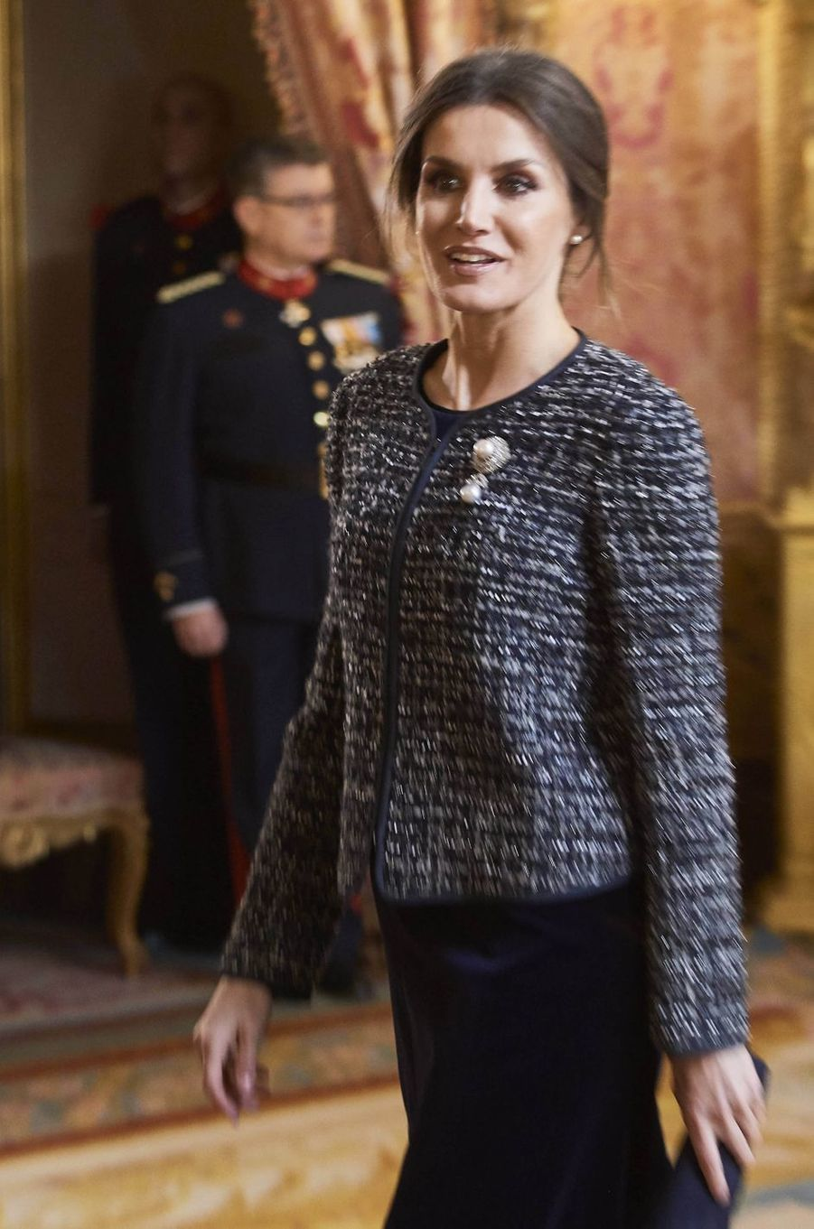 La reine Letizia d'Espagne au Palais royal à Madrid, le 6 janvier 2019