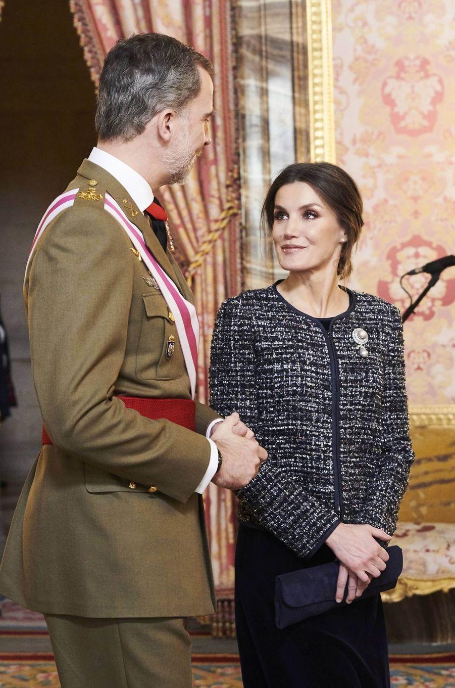 La reine Letizia et le roi Felipe VI d'Espagne à Madrid, le 6 janvier 2019