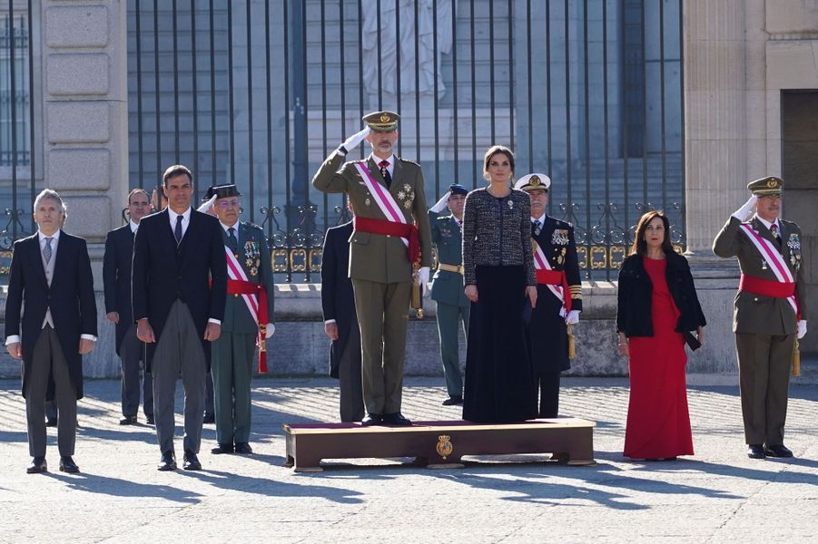 La reine Letizia et le roi Felipe VI d'Espagne à la Pascua Militar à Madrid, le 6 janvier 2019