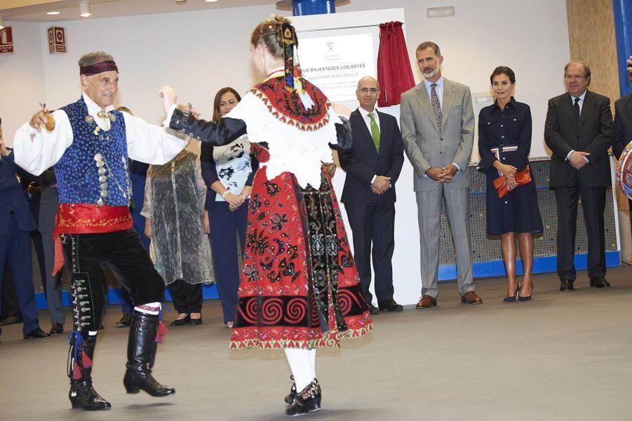 La reine Letizia et le roi Felipe VI d'Espagne à Salamanque, le 5 septembre 2018