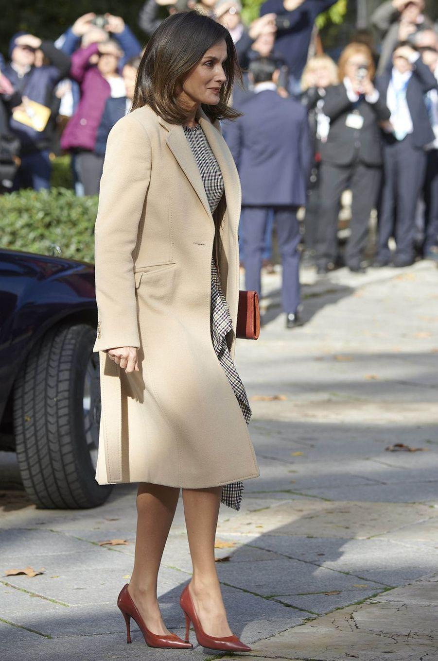 La reine Letizia d'Espagne à son arrivée au Musée du Prado à Madrid, le 19 novembre 2018