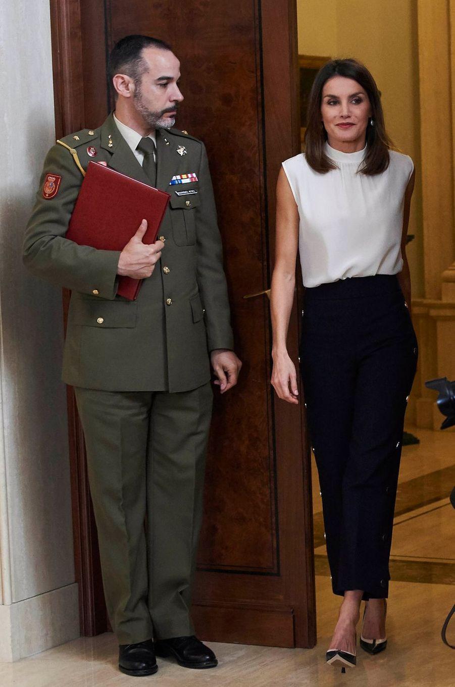 La reine Letizia d'Espagne au palais de la Zarzuela à Madrid, le 5 juillet 2018