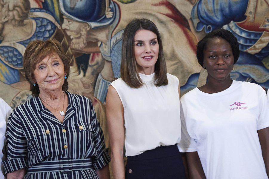 La reine Letizia d'Espagne à Madrid, le 5 juillet 2018