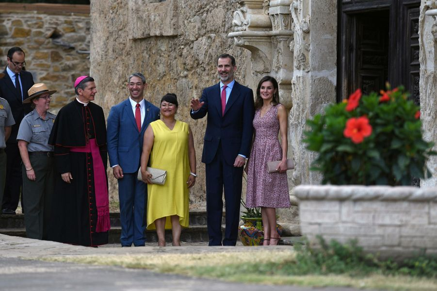 La reine Letizia et le roi Felipe VI d'Espagne à San Antonio, le 17 juin 2018