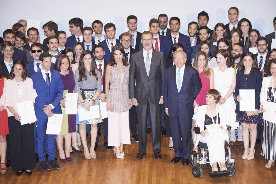 La reine Letizia et le roi Felipe VI d'Espagne à Madrid, le 28 mai 2019