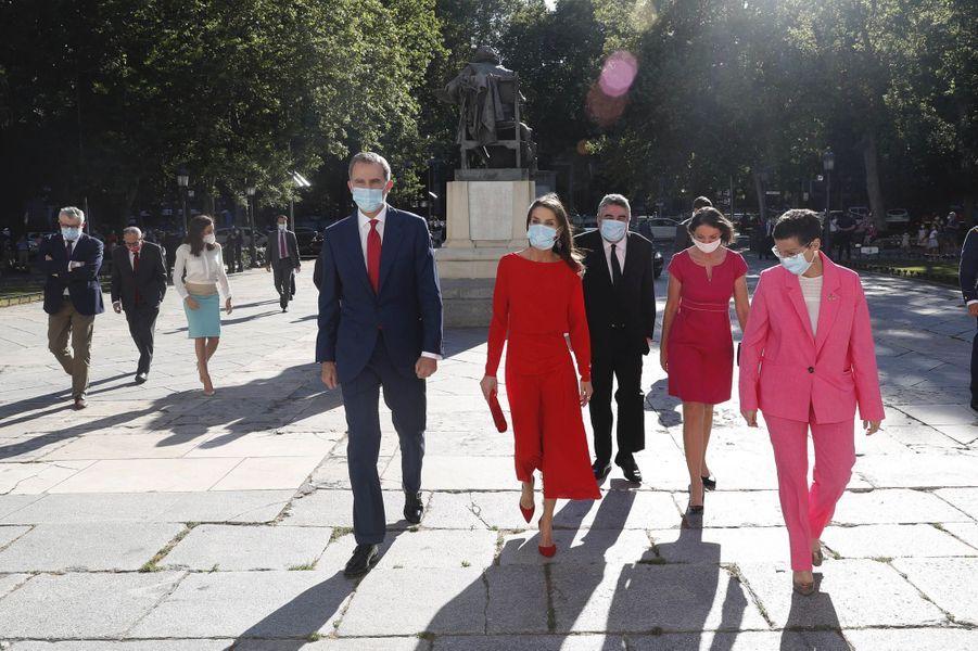 La reine Letizia et le roi Felipe VI d'Espagne à Madrid, le 18 juin 2020