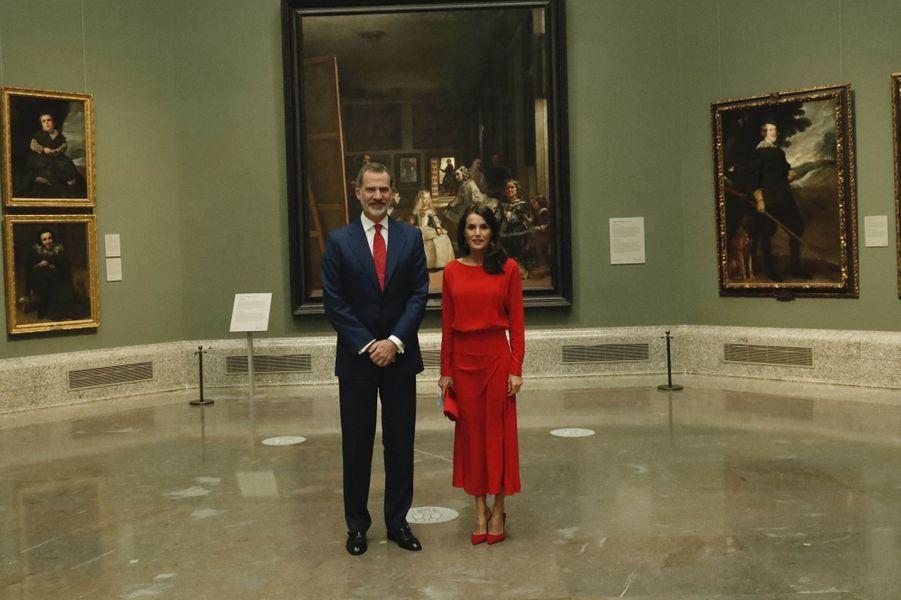 Le roi Felipe VI et la reine Letizia d'Espagne au Musée du Prado à Madrid, le 18 juin 2020