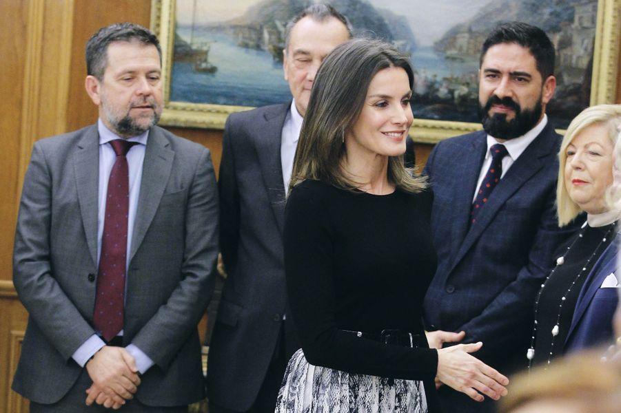 La reine Letizia d'Espagne en audience à Madrid, le 18 janvier 2019