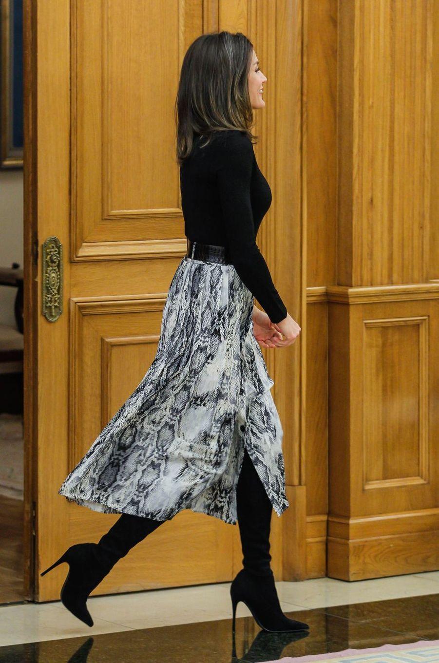 La reine Letizia d'Espagne au palais de la Zarzuela à Madrid, le 18 janvier 2019