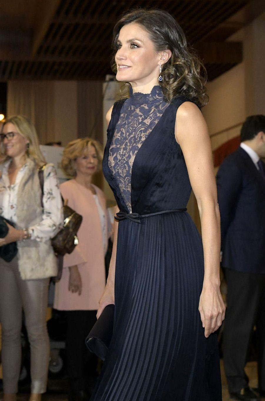 La reine Letizia d'Espagne à Madrid, le 5 décembre 2018