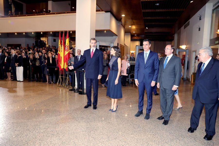 La reine Letizia et le roi Felipe VI d'Espagne à Madrid, le 5 décembre 2018
