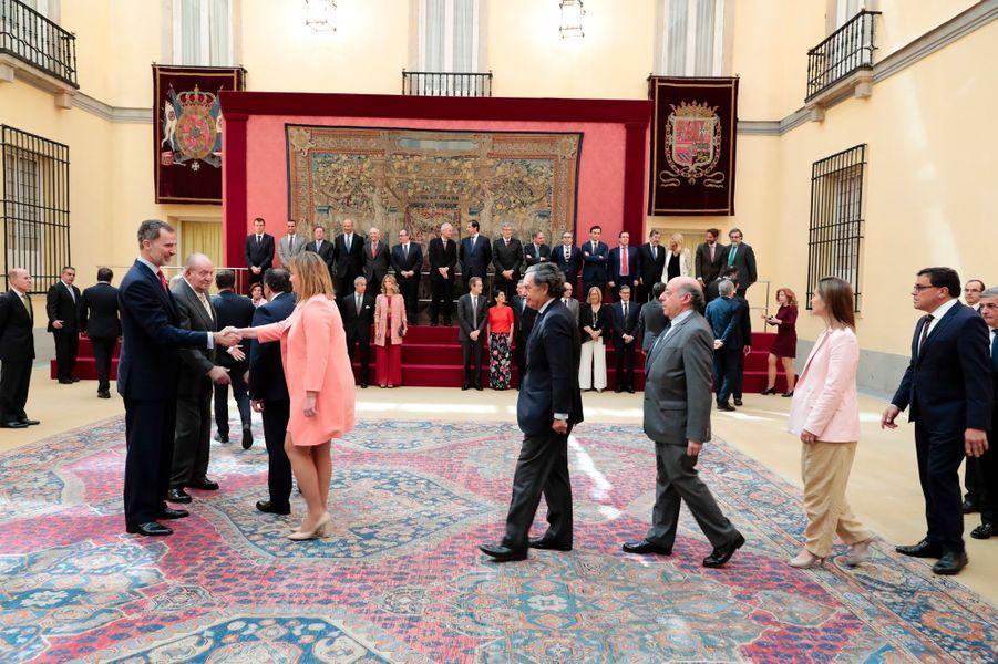 Le roi Felipe VI d'Espagne avec son père l'ancien roi Juan Carlos à Madrid, le 7 juin 2018