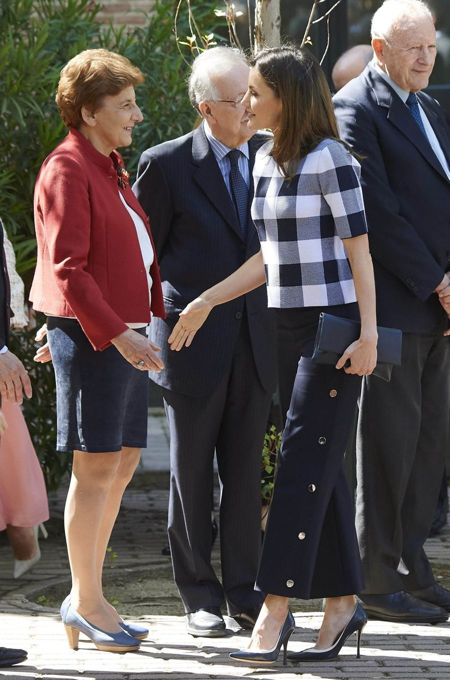 La reine Letizia d'Espagne, en Hugo Boss, à Madrid, le 7 juin 2018