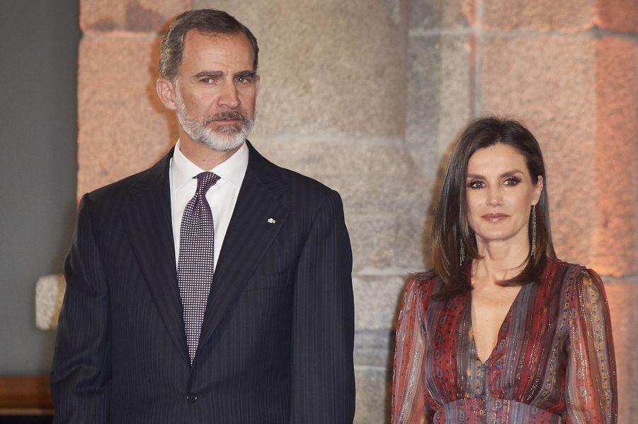 La reine Letizia et le roi Felipe VI d'Espagne au Musée du Prado à Madrid, le 19 mars 2019