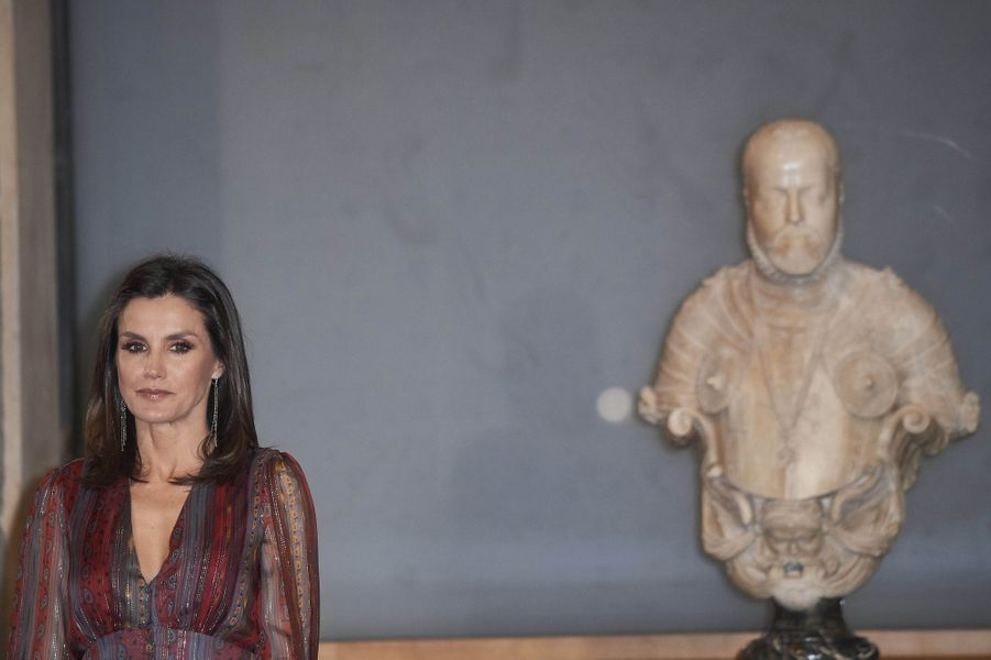 La reine Letizia d'Espagne au Musée du Prado à Madrid, le 19 mars 2019