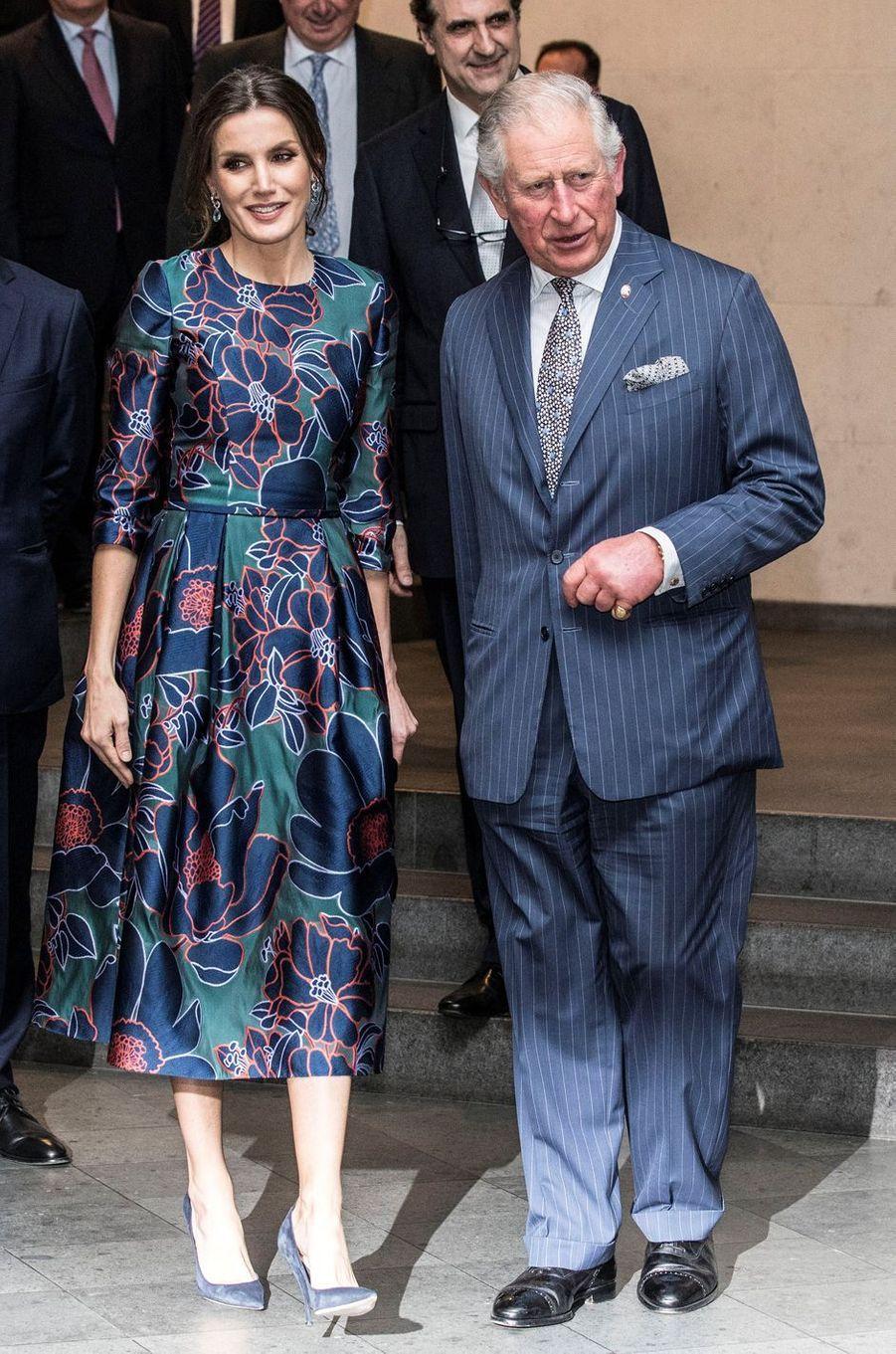 La reine Letizia d'Espagne et le prince Charles d'Angleterre à Londres, le 13 mars 2019