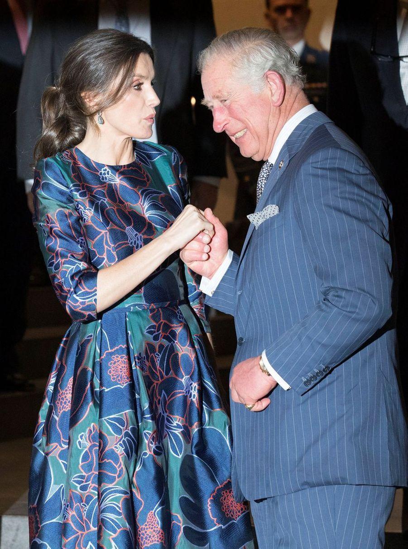 La reine Letizia d'Espagne et le prince Charles d'Angleterre, le 13 mars 2019 à Londres