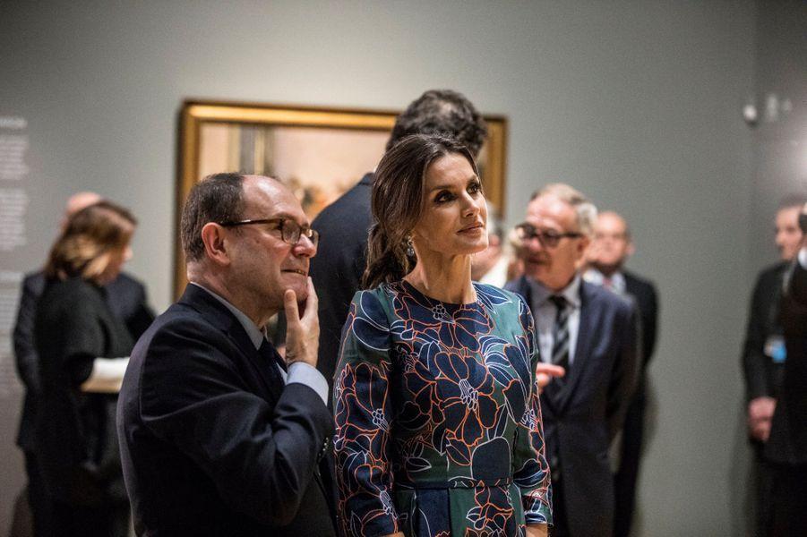 La reine Letizia d'Espagne à Londres, le 13 mars 2019