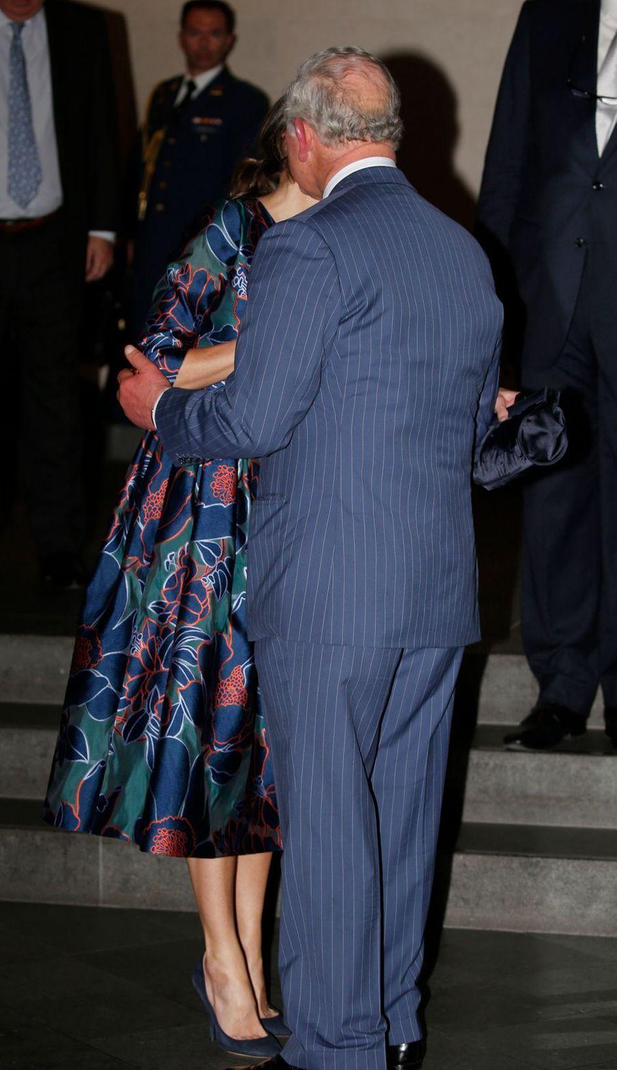 Le prince Charles d'Angleterre et la reine Letizia d'Espagne à Londres, le 13 mars 2019