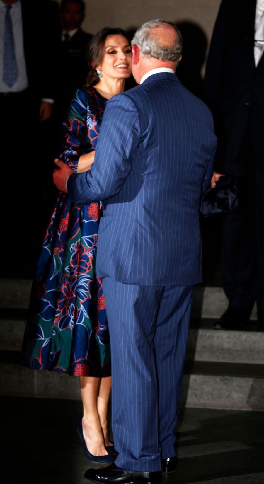 La reine Letizia d'Espagne et le prince de Galles à Londres, le 13 mars 2019