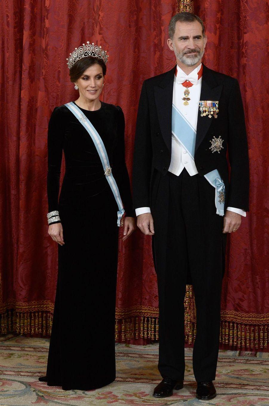 La reine Letizia et le roi Felipe VI d'Espagne à Madrid, le 29 novembre 2018