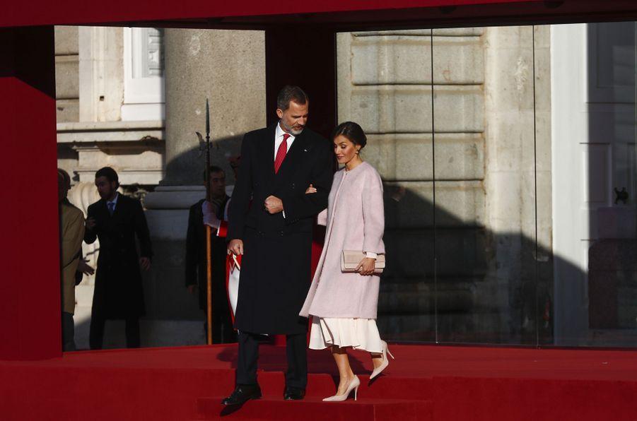 La reine Letizia et le roi Felipe VI d'Espagne à Madrid, le 28 novembre 2018