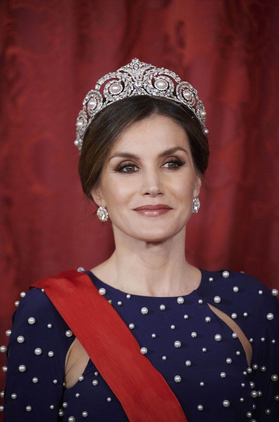 La reine Letizia d'Espagne à Madrid, le 16 avril 2018
