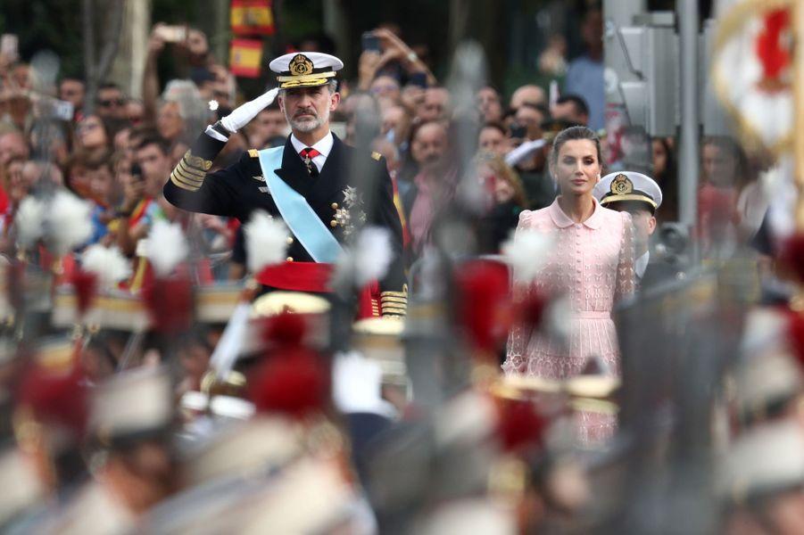 Le roi Felipe VI d'Espagne et la reine Letizia à Madrid, le 12 octobre 2019