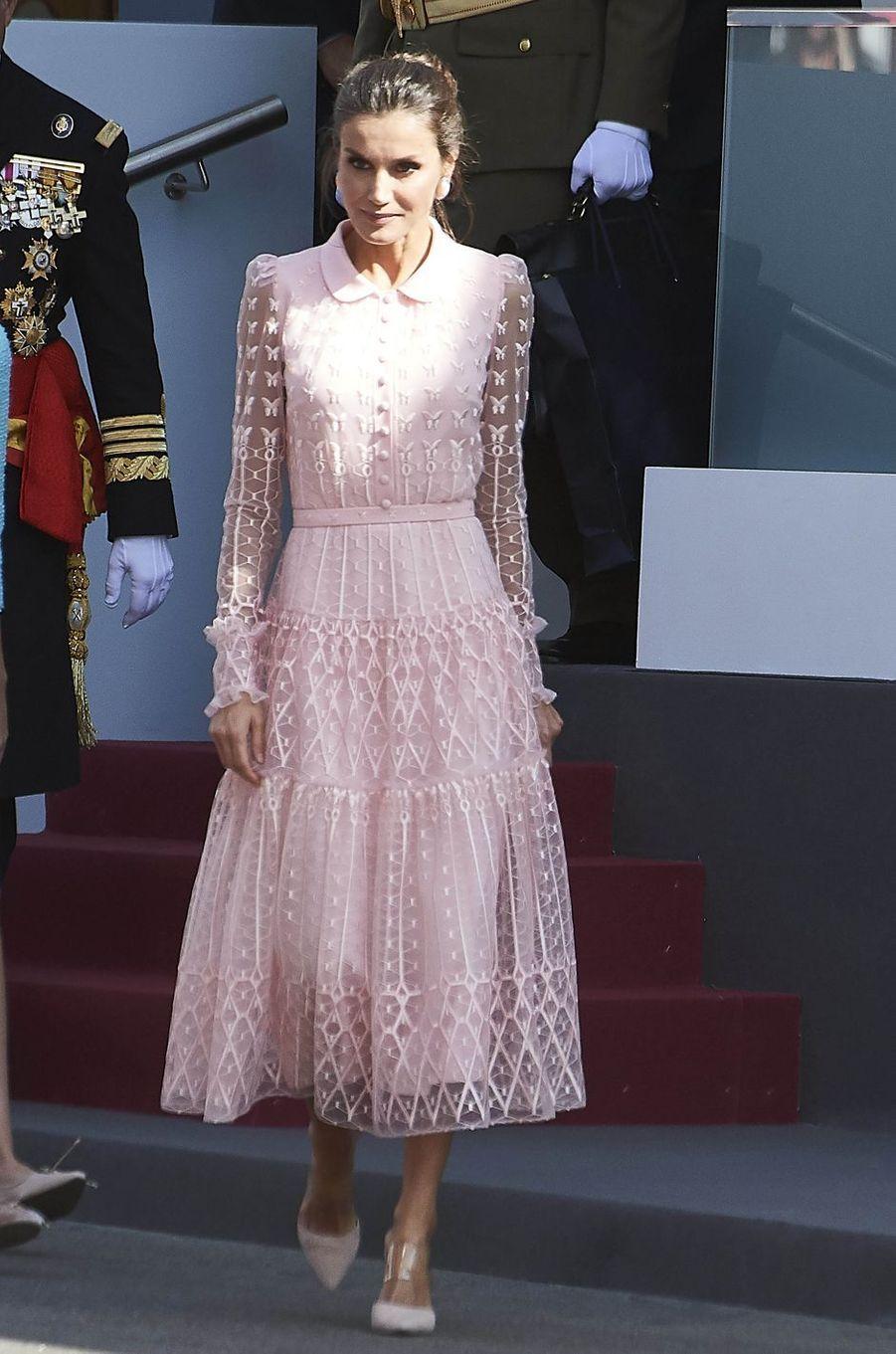 La reine Letizia d'Espagne à Madrid, le 12 octobre 2019