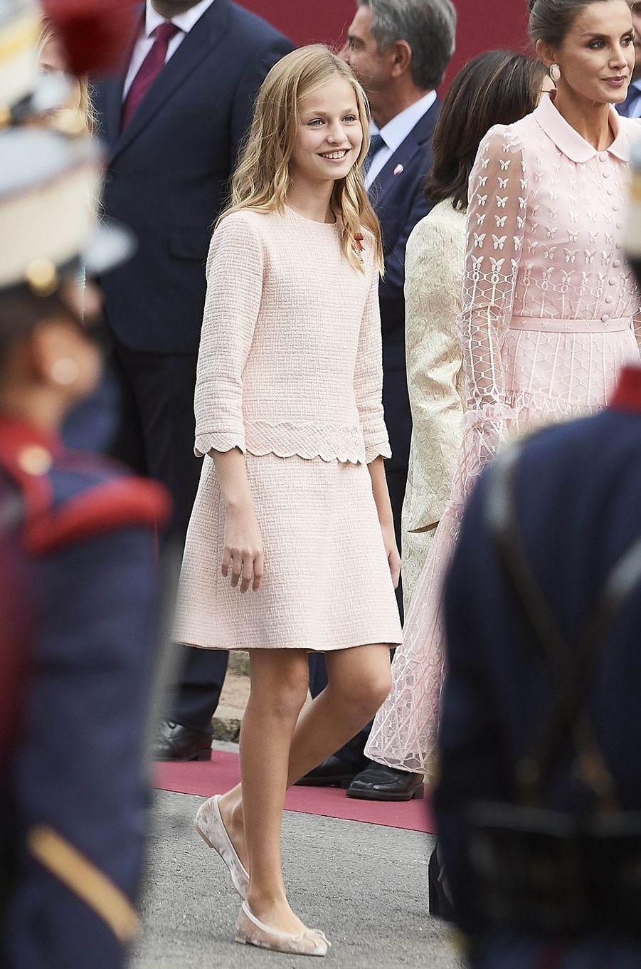 La princesse Leonor et la reine Letizia d'Espagne à Madrid, le 12 octobre 2019